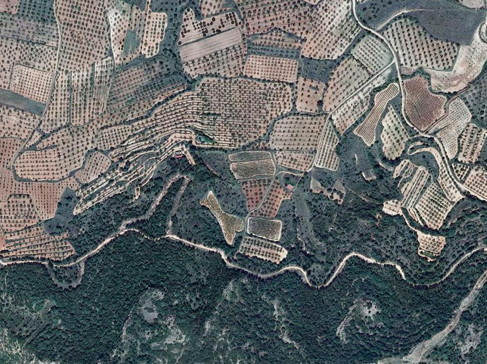 Vista aérea en 2004 de los terrenos de viñedo en la Sierra de Yerga